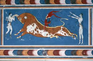 Reconstruction of the 'Bull-leaping' fresco from the Minoan Royal palace at Knossos by Unknown