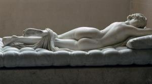 Statue of a sleeping Hermaphrodite, Artist: Unknown by Unknown