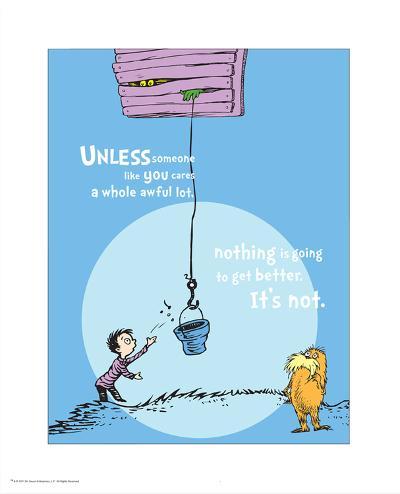 Unless Someone Cares (blue)-Theodor (Dr. Seuss) Geisel-Art Print