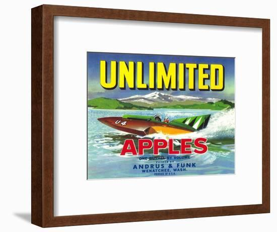 Unlimited Apple Label - Wenatchee, WA-Lantern Press-Framed Art Print