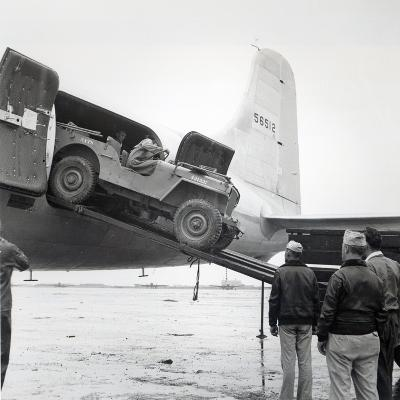Unloading a Jeep from Douglas 'Skymaster' at Shanghai Airport, China, During the Second World War--Photographic Print