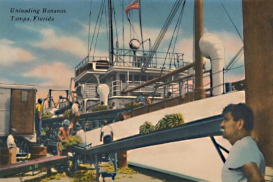 'Unloading Bananas, Tampa, Florida', c1940s-Unknown-Giclee Print