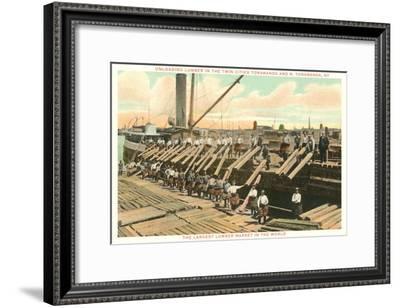 Unloading Lumber--Framed Art Print