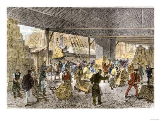 Unloading Tea-Ships in the British East India Company's Docks, London, c.1860--Giclee Print