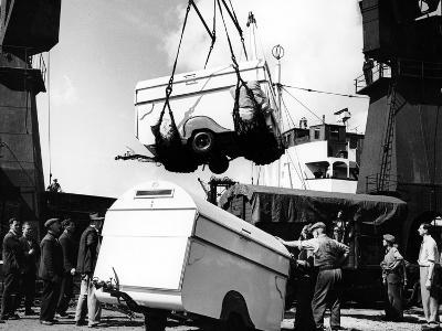 Unloading Trailers from a Ship, C1950s--Photographic Print
