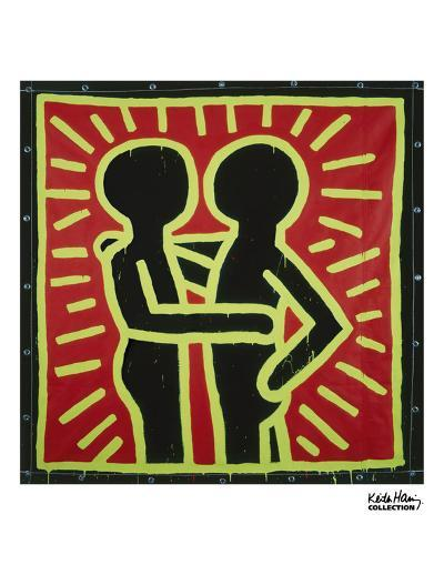 Untitled, 1982 (couple in black, red, and green)-Keith Haring-Art Print