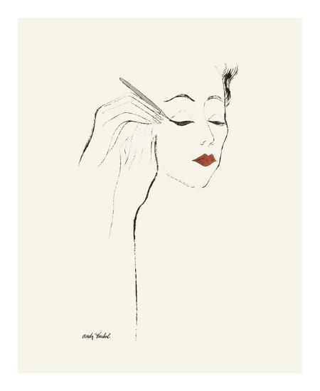 Untitled (Female Head and Hands Applying Eyeliner), c. 1955-Andy Warhol-Art Print