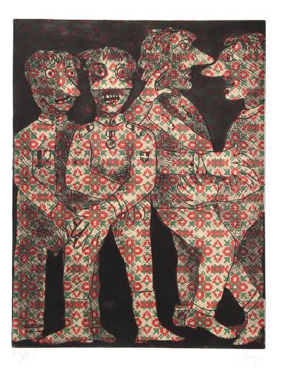 Untitled (Four Dancing Figures)-Enrico Baj-Limited Edition