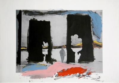 Untitled - Grey Figure and Trees-Menashe Kadishman-Limited Edition