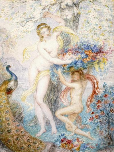 Untitled (Two Female Nudes under a Tree, with a Peacock), (W/C on Cream Wove Paper)-Armand Point-Giclee Print