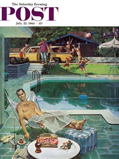 """""""Unwelcome Pool Guests,"""" Saturday Evening Post Cover, July 22, 1961-Thornton Utz-Giclee Print"""