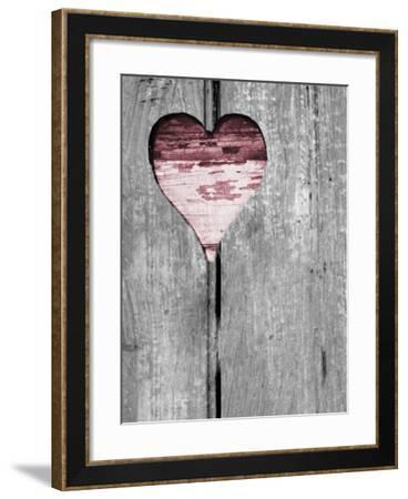 Up & Down Pink Woodcut Heart II-Gail Peck-Framed Photo