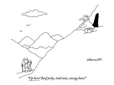 """Up here! Beef jerky, trail mix, energy bars!"" - New Yorker Cartoon-Charles Barsotti-Premium Giclee Print"