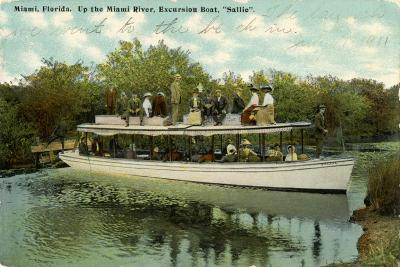 Up the Miami River Excursion Boat Sallie, C.1910--Giclee Print