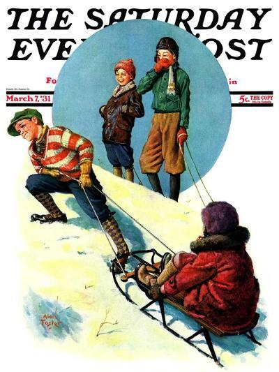 """Uphill Sledding,"" Saturday Evening Post Cover, March 7, 1931-Alan Foster-Giclee Print"
