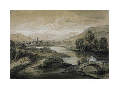 Upland Landscape with River and Horsemen Crossing a Bridge-Thomas Gainsborough-Giclee Print