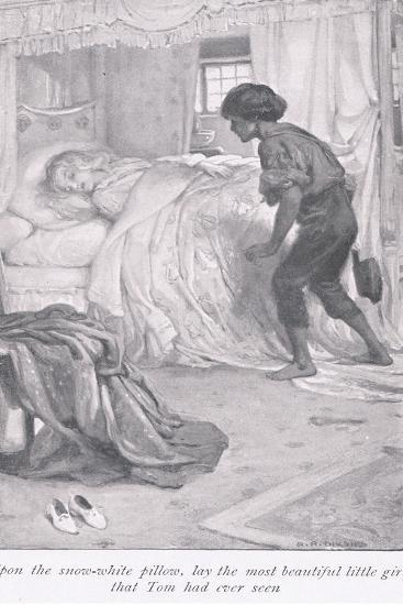 Upon the Snow White Pillow, Lay the Most Beautiful Little Girl That Tom Had Ever Seen-Arthur A^ Dixon-Giclee Print