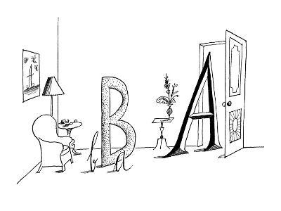 Upper and lower case A's and B's in a living room setting. - New Yorker Cartoon-Saul Steinberg-Premium Giclee Print