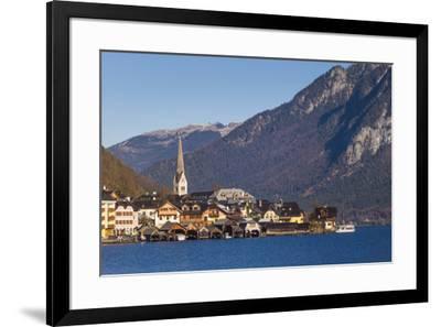 Upper Austria, Salzkamergut, Hallstatt, town view, dawn-Walter Bibikow-Framed Photographic Print