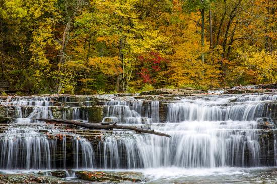 Upper Cataract Falls on Mill Creek in Autumn at Lieber Sra, Indiana-Chuck Haney-Photographic Print