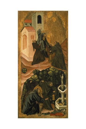 Upper Section, St. Anthony Abbot Leaving His Monastery in Patras, Lower Section-Vitale da Bologna-Giclee Print