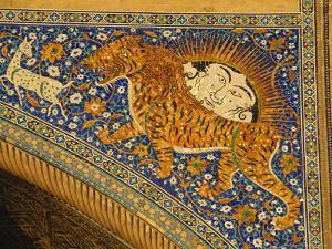 Ceramic Detail, Sher Dor Madressa, Registan Square, Samarkand, Uzbekistan, Central Asia by Upperhall Ltd