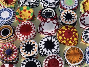 Colourful Nubian Skullcaps for Sale, Philae, Aswan, Egypt, North Africa, Africa by Upperhall Ltd