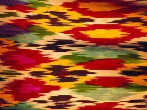 Detail of Traditional Rainbow Silk Dress, Bukhara, Uzbekistan, Central Asia by Upperhall Ltd