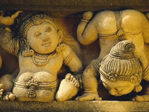 Dwarf Carvings Line Temple Wall, Kelaniya Temple, Near Colombo, Sri Lanka, Asia by Upperhall Ltd