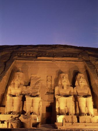 Floodlit Temple Facade and Colossi of Ramses II (Ramesses the Great), Abu Simbel, Nubia, Egypt