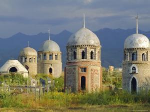 Traditional Kirghiz Cemetary, Near Burana Tower, Kyrgyzstan, Central Asia by Upperhall Ltd