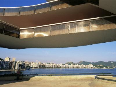 View of Niteroi, Museo De Arte Contemporanea, by Oscar Niemeyer, Rio De Janeiro, Brazil
