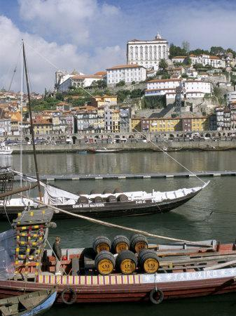 Port Barges on Douro River, with City Beyond, Oporto (Porto), Portugal
