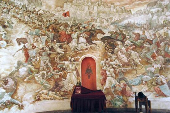 Uprising Against the Ottoman Empire  Memorial Wall Dedicated to George  Kastrioti Skanderbeg Giclee Print by | Art com