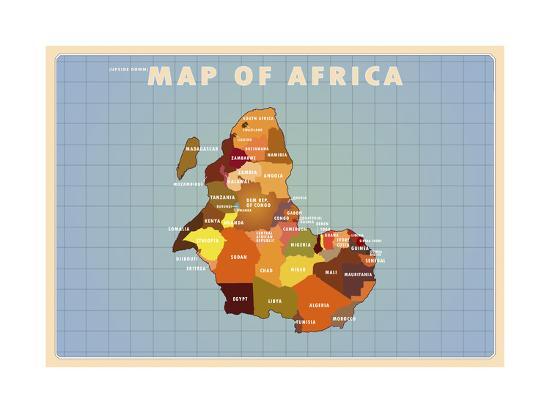 Upside Down Africa-American Flat-Giclee Print