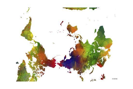Upside Down Map Of The World Clr 1 Giclee Print By Marlene Watson