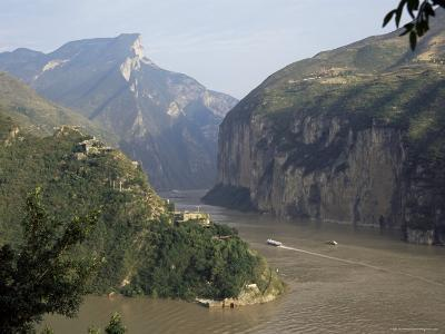 Upstream End Seen from Fengjie, Qutang Gorge, Three Gorges, Yangtze River, China-Tony Waltham-Photographic Print