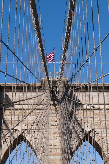 Upward Image of Brooklyn Bridge in New York-burak pekakcan-Photographic Print