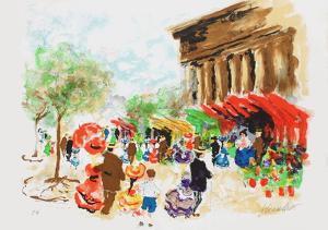 Paris, La Madeleine et le marché aux fleurs by Urbain Huchet