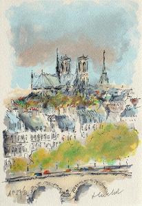 Paris, Panorama Sur Notre Dame by Urbain Huchet