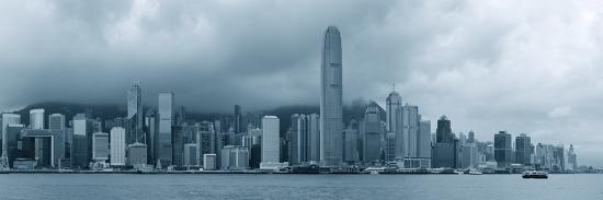Urban Architecture in Hong Kong Victoria Harbor with City Skyline and Cloud in the Day in Black And-Songquan Deng-Photographic Print