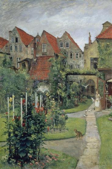 Urban Garden in Luebeck (Johannisstrasse 64), 1891-Hermann Linde-Giclee Print