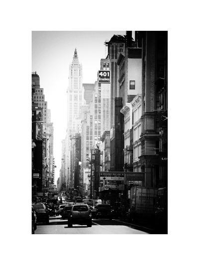 Urban Scene, 401 Broadway, Soho, Manhattan, NYC, White Frame, Old Black and White Photography-Philippe Hugonnard-Photographic Print