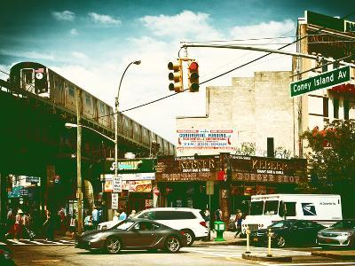 Urban Scene, Coney Island Av and Subway Station, Brooklyn, Ny, US, USA, Vintage Color Photography-Philippe Hugonnard-Photographic Print
