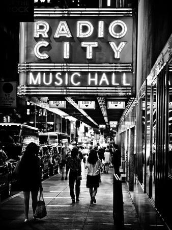 Urban Scene, Radio City Music Hall by Night, Manhattan, Times Square, New York, Classic-Philippe Hugonnard-Photographic Print