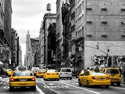 Urban Scene with Yellow Cab in Broadway-Philippe Hugonnard-Photographic Print