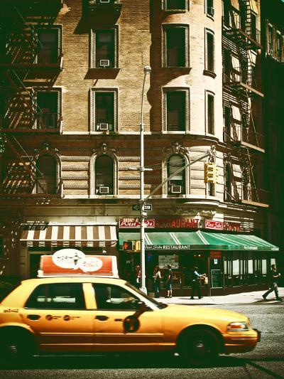 Urban Scene with Yellow Cab on the Upper West Side of Manhattan, NYC, Vintage Colors Photography-Philippe Hugonnard-Photographic Print