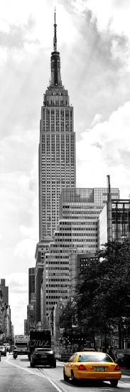 Urban Scene, Yellow Cab and Empire State Buildings View, Midtown Manhattan, NYC-Philippe Hugonnard-Photographic Print