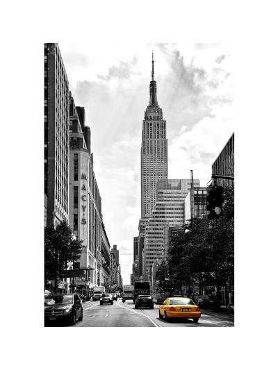 Urban Scene, Yellow Cab, Empire State Buildings and Macy's Views, Midtown Manhattan, NYC-Philippe Hugonnard-Photographic Print