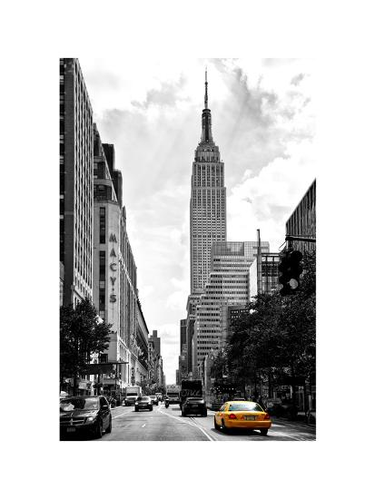 urban scene yellow cab empire state buildings and macy s views
